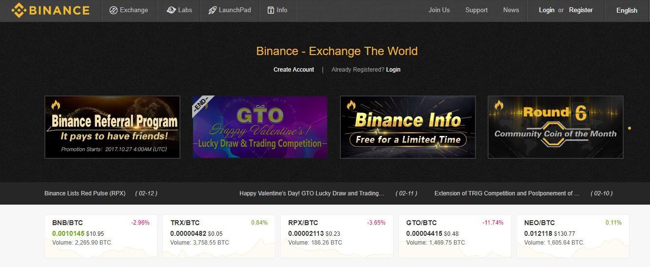 binance frontpage
