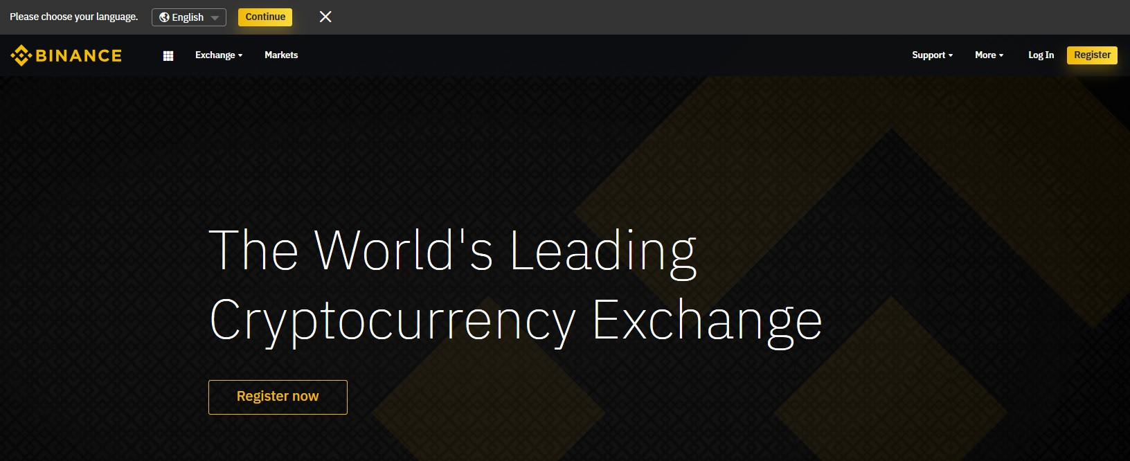 binance front page 7/19