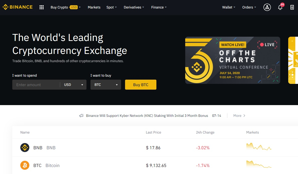 binance front page july 2020