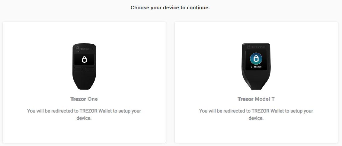 trezor setup choose device