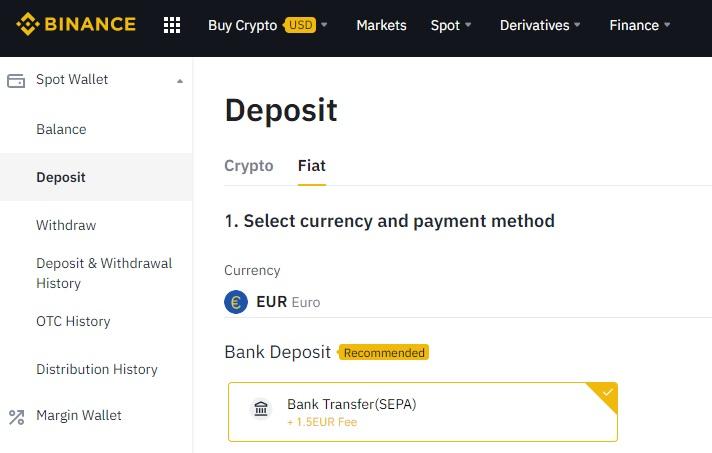 SEPA deposit