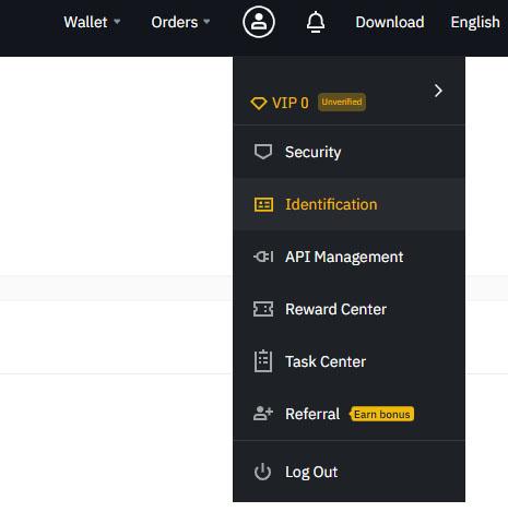 binance verification menu