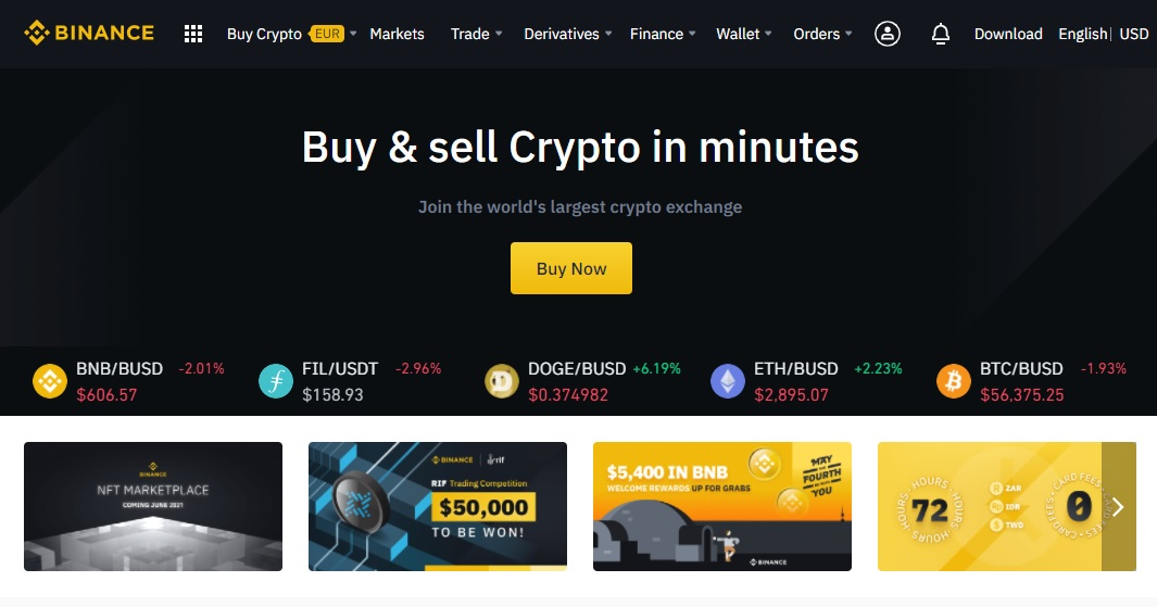 Binance front page