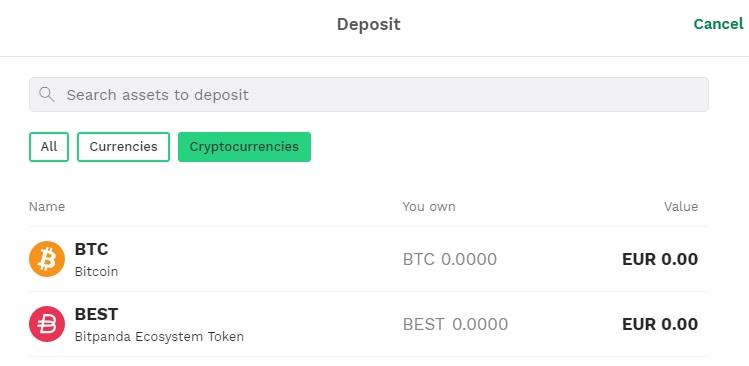 Bitpanda deposit crypto