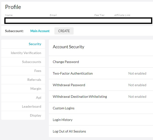 ftx security settings