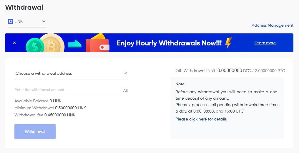 phemex withdraw link